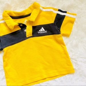 ADIDAS • Infant Gold + Blue Polo Shirt Top • 3 Mth